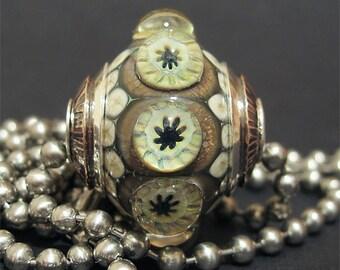 Focal Round Lampwork Glass Dot Bead Necklace Handmade AKDesigns Daisy Starburst Bauble Pendant