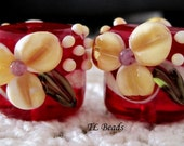 Custom Order for Jean M Candy Apple Handmade Lampwork Glass Bead Set
