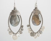 Marquise Shaped Wrapped Coin Earrings with Labradorite