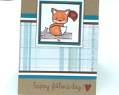 Father's Day Card, Happy Father's Day Card Baby Fox Sitting on Tree Trunk, Heart Bubble,  Plaid on Kraft Cardstock