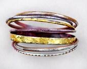Handcrafted Bangle Set - 'Midas' - Toned Enamel Bracelets