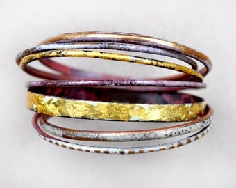 Handcrafted Bangle Set - 'Midas' - Toned Enamel Bracelets