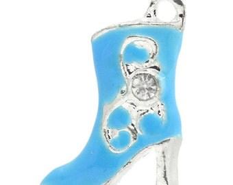 charms blue boots Rhinestone Enamel  cowboy cowgirl Boots Pendants charms  quantity 2 DRW960