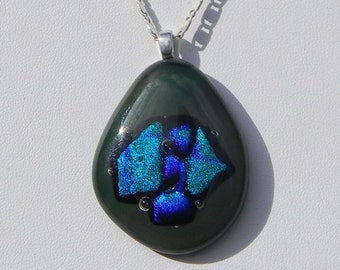 Green & Blue Abstract Glass Pendant