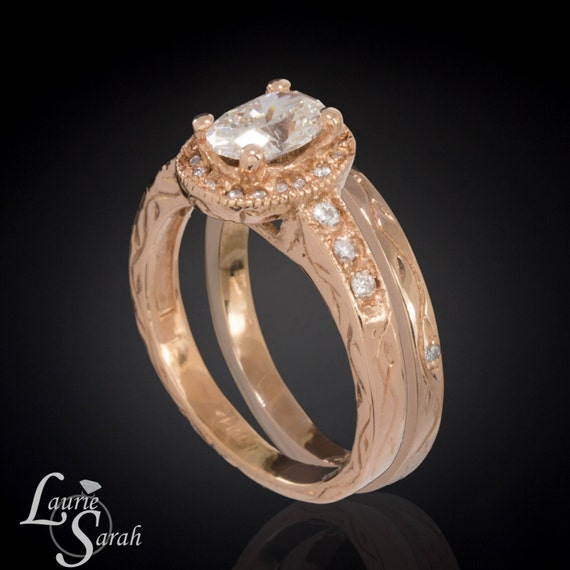14kt Rose Gold Diamond Engagement Ring with Wedding Band - Hand Engraved Vines and Flowers - LS999