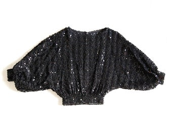 Vintage 70s Glam Batwing Sequin Cropped Blouse