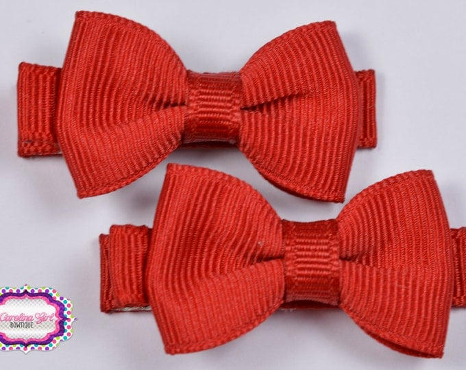 Red Hair Bow Set of 2 Small Hairbows - Girls Hair Bows - Clippies - Baby Hair Bows - Mini Hair Bow Sets