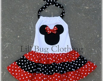 Custom Minnie Mouse Red and Black  White Polka Dot  Tiered Halter Dress
