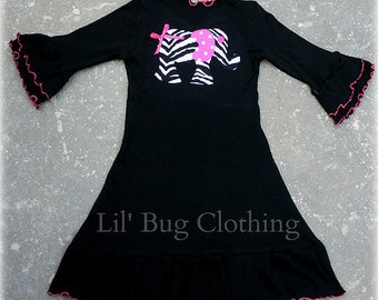 Custom Boutique Clothing Black Knit Girls Elephant Dress
