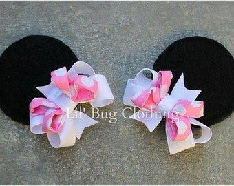 Bubble Gum Pink White Polk Dot Girls Minnie Mouse Ears Hair Clip Accessories