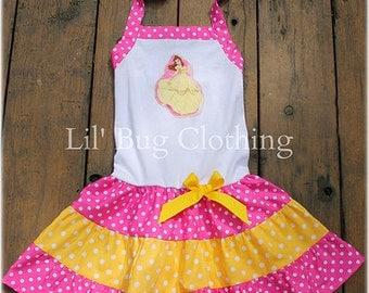 Custom Boutique Princess Belle Yellow Pink Dots  Disney Tiered  Halter Summer Halter Dress