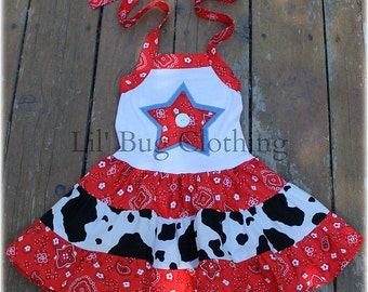Custom Boutique Clothing Country Red Bandana Cow Tiered Halter Dress