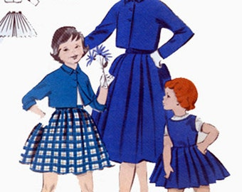 1950s Girls Bolero Jacket, Pleated Skirt and Jumper Butterick 7465 Vintage 50s Sewing Pattern Size 4