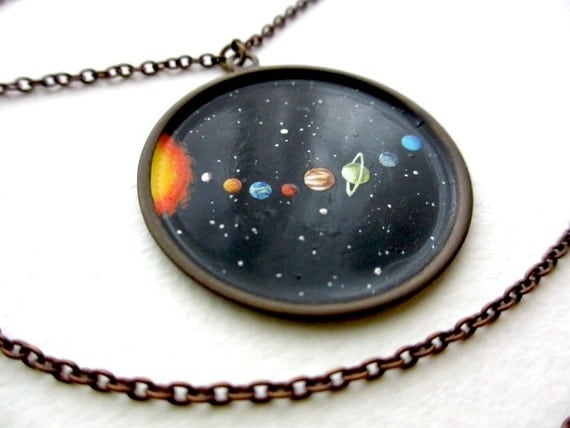 Tiny Solar System in Oil, OOAK Miniature Outer Space Necklace, Hand-Painted Universe