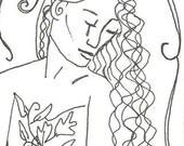 One tear - Original Drawing - Art Noveau inspired ACEO - by Niina Niskanen