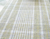 HandWoven Country Table Runner White Yellow Grey Greige Stripe Plaid Cotton Hand Woven