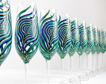 Peacock Feather Champagne Flutes - 12 Piece Bridal Collection - Hand Painted Peacock Feather Wedding Glassware Collection