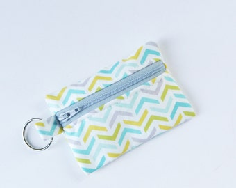 Flash Drive Holder, Small Zipper Pouch, Credit Card Case, Ripples Stripes