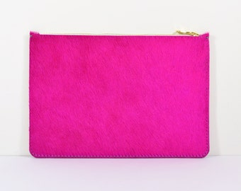 Coralie - Handmade Pink Hair On Hide Leather Clutch Bag Zip Pouch Purse SS15
