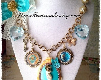 SALE Queen Seahorse of the Ocean Statement Charm Necklace