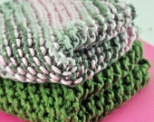Handmade Dish Cloths - Camo Cutie - 100 Percent Cotton - Hand Knit Wash Cloths and Dish Cloths - Camouflage