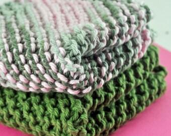 Handmade Dish Cloths - Camo Cutie - 100 Percent Cotton - Hand Knit Wash Cloths and Dish Cloths - Camouflage
