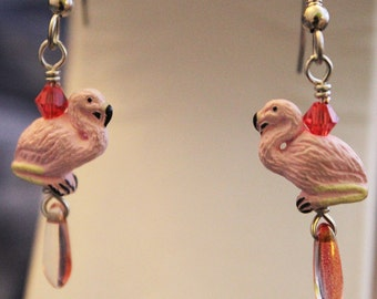 Pink Flamingo Earrings - hand made ceramic, crystal, Czech glass, surgical steel, Shimmer Shimmer