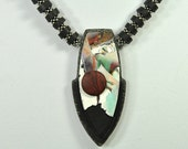 Black, Silver, Red and Watercolor Handmade Polymer Clay Pendant Necklace N13-40