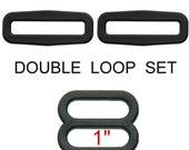 """50 Double Loop SETS - 1"""" Strap Adjuster, Black, Polyacetal Plastic, Tri Bar Slide"""