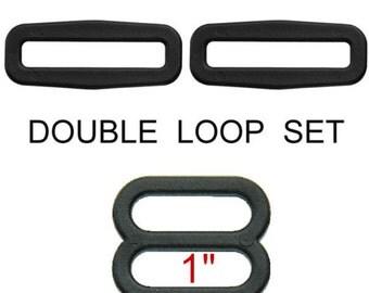 """10 Double Loop SETS - 1"""" Strap Adjuster, Black, Polyacetal Plastic, Tri Bar Slide"""