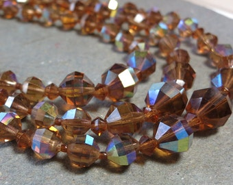 Three Strand Necklace Brown Crystal Necklace Necklace Multi Strand Necklace Vintage Necklace