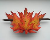 Leather layered red oak barrette