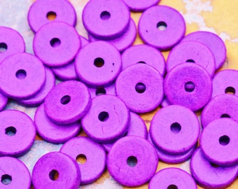 10 Mykonos Greek Ceramic Beads  Hot Purple 13mm Round Washer