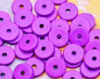 25 Hot Purple Mykonos Greek Ceramic Beads - 13mm Round Washer