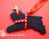 Bouvier des Flandres Reindeer Christmas Ornament Artist Hand-Made OOAK Art C6
