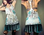 XOXO Dress, sexy short cotton dress, braided back sundress, hand painted babydoll dress,  Punk Rock Graffiti dress. Crude Things