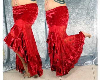 Custom Long Gypsy Skirt, Red Mermaid style. Lace and Velvet Skirt, Belly Dance Costume, shapely figure, formal skirt, flamenco skirt