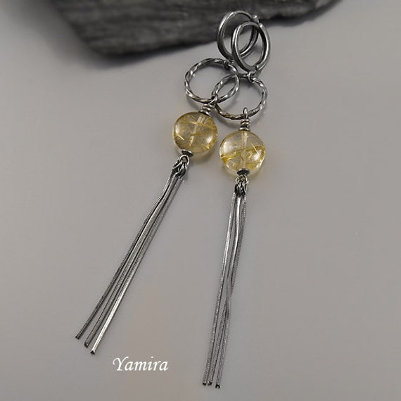 dangle very long exclusive earrings with yellow by