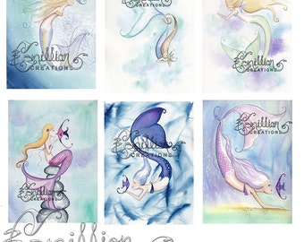 Fish and MERMAIDS Fishy Friends Note Mermaid Life from Original Watercolors by Camille Grimshaw
