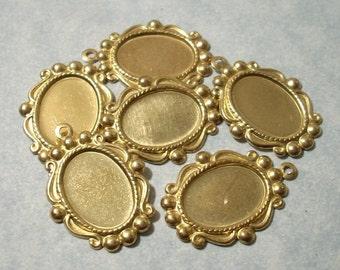 14mm x 10mm Cabochon Settings, Raw Brass Settings, Brass Pendants, Pendant Settings, Oval Settings, 6pcs