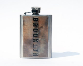 Hip Flask- Groomsmen Flask- Gift For Women- Cool Gift for Men- Whiskey Flask-  Cool gifts for Women- Brooklyn Bridge -New York Photography