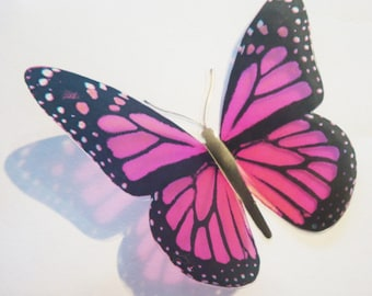 5 x 3D Butterflies - HOTPINKARCH - Pink WEDDINGS Invitation, Table, Cake, Pew, Decoration, Gift, Cards, Bouquet, Dress, Flowers