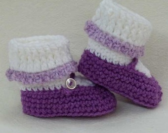 Crocheted Mary Jane Baby Booties Amethyst Purple choose a size
