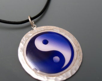 READY TO SHIP Yin Yang Sterling silver pendant with 20 inch leather cord
