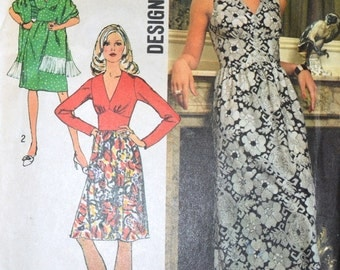 Vintage Sewing Pattern  Simplicity 5350 Misses' Dress and Shawl Size 12 Bust 34 Inches  Uncut  Complete