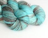 Hand Dyed Sock Fingering Yarn - Superwash Merino 400 Yards - Kraken - Turquoise and Brown