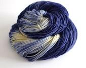 Worsted Superwash Single Ply Merino - 240 yards Worsted Weight - Starry Night in Indigo Blue and Light Yellow