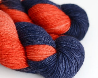 Hades - Hand Dyed Yarn - Sock Yarn - Merino Cashmere Nylon - Orange and Dark Blue - Greek Mythology