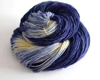 Starry Starry Night - Hand Dyed Yarn - Worsted Weight Merino Wool - Dark Blue and Cream - Van Gogh