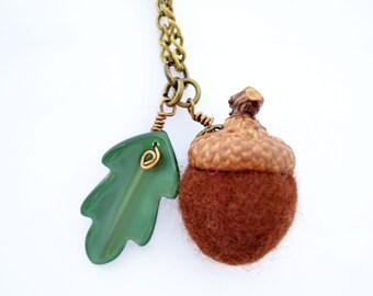 Felt Acorn pendant,Autumn necklace in brown or sage with a  Lucite oak leaf- waldorf,atumn,wedding,bridesmaid